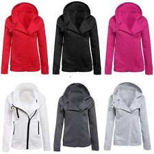 New Fashion Women Ladies Casual Hoodie Hooded Oblique Zipper Coat Tops Outerwear