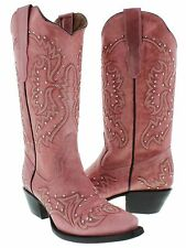 Womens Pink Studded and Stitched Leather Western Cowboy Boots Snip Toe