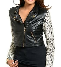 Black Ivory Lace Overlay Long Sleeve Pleather Vegan Faux Leather Moto Jacket