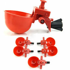 1/5Pcs Red Plastic Bird Chicken Coop Feed Automatic Poultry Water Drinking Cups