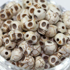 Wholesale 100PCS White Turquoise Carved Skull Head Howlite Spacer Loose Beads
