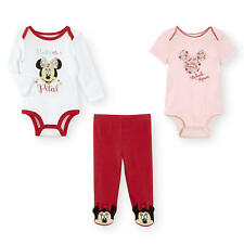 "Disney Baby 3 Piece ""Flower Petal"" Minnie Mouse 2 Bodysuits & Footed Pant Set"