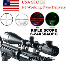 US Tacticl 6-24x50AOEGRed/Green Mil Dot/Rangefinder Scope Sight ForRifle Hunting