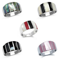 925 Sterling Silver Multi Color 5-Stripe Inlay Casual Modern Ring