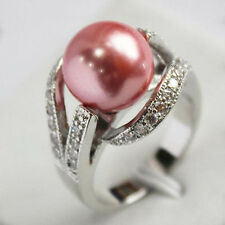 12mm South pink Sea shell pearl Gemstone Jewelry Ring Size  7 8 9 AAA