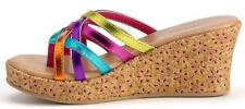 Girl's Youth's SONOMA LUCINDA Multi/Metallic Sandals Thong Wedge Dress Shoes New