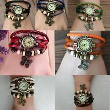 Fashion Women Quartz Movement Leather Butterfly Bracelet Wrist Watch Jewelry YC
