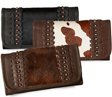 American West® Cow Town, All Leather Tri-fold Organizer Wallet- 3 Colors