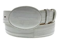 Mens Off White Real EEL Skin Leather Cowboy Western Belt Exotic Dress Smooth