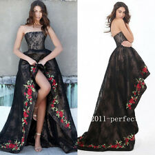High Low Black Lace Evening Dresses Prom Formal Gowns With Rose Edge Custom 2017
