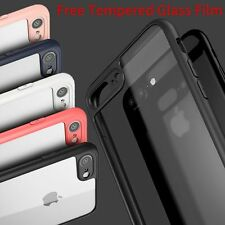 Ultra thin Clear Hard Rubber Bumper Tempered Glass Case For iPhone 6/6s/7/7 Plus