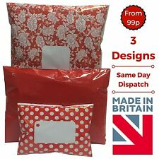 RED Post Postal Plastic Mailing Bags Postage Coloured - Polka Dot Floral Stars