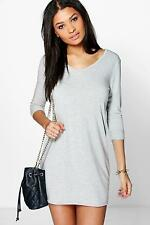 Boohoo Womens Hayley V Neck T-Shirt Shift Dress