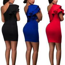 Sexy One Shoulder Mini Dress Women Ruffled Bodycon Party Cocktail Club Dress E94