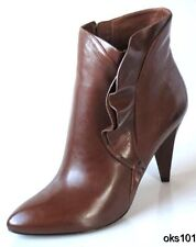 new $590 MARC JACOBS brown leather ruffled side shoes ANKLE BOOTS