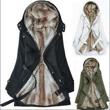 New Chic Womens Fur Lined Hooded Long Jackets Fleece Faux Fur Parkas Coats Size