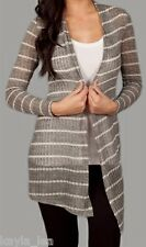 Medium Gray/White Stripe Long Sleeve Drape Bolero/Shrug/Cardigan/Cover Sweater
