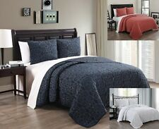Alia Coverlet 3 piece Set Luxury 100% Cotton Wrinkle Free Embroidered Quilt