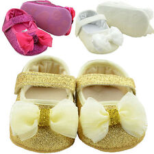 Princess Baby Sequin Shoes Girl Infant Soft Sole Ribbon Bow Prewalker Shoes