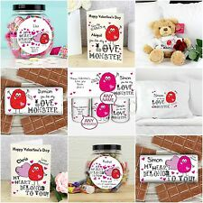 Personalised Love Monster Valentines Card & Gifts Any Name for Him Her Men Women