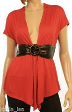 Red Cap Sleeve Shrug/Cover-Up Drape Scarf Tunic Cardigan w/ Belt