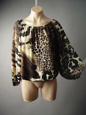 Leopard Animal Print Vtg-y 70s Bishop Sleeve Sweater Knit Top 26xt Blouse S M L