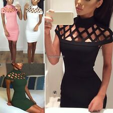 Women Choker High Neck Bodycon Ladies Caged Sleeves Mini Dress US Size 4-12 ED