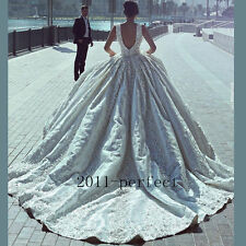 Luxury Beaded Lace Appliques Wedding Dresses Cathedral Train Ball Gowns Custom