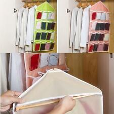 Durable Foldable 16 Grids Pouch Clothes Sock Wash Hanging Storage Bag Organizer