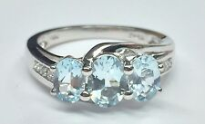 10K White Gold 1.50CT Blue Oval Aquamarine Triple Swirl Cocktail Ring Sz 6.75