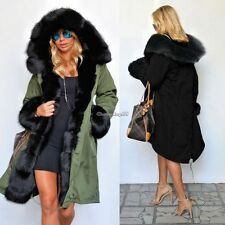 LADIES HOODED PARKA FAUX FUR TOP SIZE 8-20 WINTER WARM WOMENS LONG JACKETS COATS
