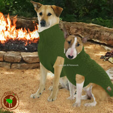 Chilly Dog Sweater Green Cable Knit Handmade Organic Wool M-L-XL 18-60 lbs