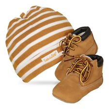 Timberland Baby Gift Set Hats und Learning to walk shoes Crib Bootie Wheat beige