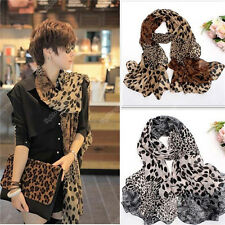 Women Leopard Chiffon Silk Soft Long Neck Scarf Shawl Scarves Stoles Wraps New