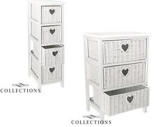 3 or 4 Drawer White Woven Storage Unit Draw Set Shabby Chic Heart Draw Design