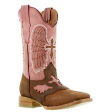 womens brown pink cross design leather western cowboy riding boots square