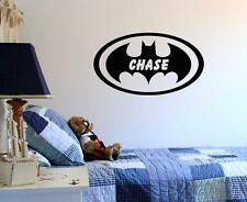 Wall Decal Personalized Batman with Childs Name Boys Room Custom Vinyl Lettering