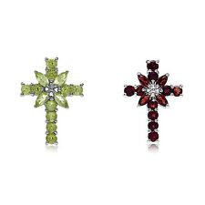 Natural Gemstone 925 Sterling Silver Cross Pendant