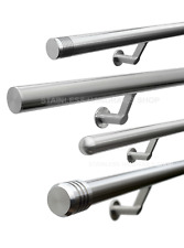 Brushed Stainless Steel Contemporary Stair Handrail - Select Your Banister Ends