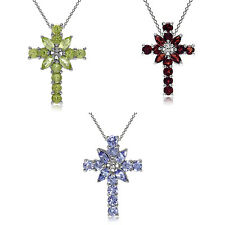 "Natural Gemstone 925 Sterling Silver Cross Pendant w/18"" Chain Necklace"