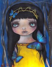 Lu Abril Andrade Goth Girl Vampire Butterfly Canvas Giclee Art Print