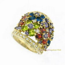 Multi Color Simulated Diamonds Solid 925 Sterling Silver Ring Gold Plated r4529