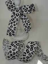 SNOW LEOPARD Print Flock Velvet Black on White Animal - Luxury Wire Edged Ribbon