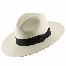 Authentic Classic Fedora Style Straw Panama Hat Handwoven in Ecuador