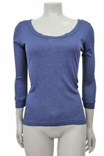 Enza Costa Navy ribbed Hi low thermal top Size XS M Scoop neck
