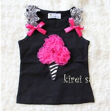 Black Tank Top Hot Pink Zebra Ice Cream Cone Pettitop for Pettiskirt 3M-10Y VAR5
