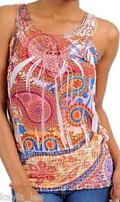 Coral Multi Lace Applique Neckline Sublimation Sleeveless/Tank Top XS/S/M/L