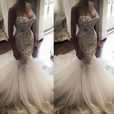 Sweetheart Wedding Dresses Spaghetti Straps Custom Made Bridal Mermaid Lace Gown