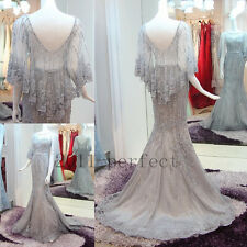 Sliver Crystal Beads Evening Dresses Mermaid With Cape Elegant Formal Prom Gowns