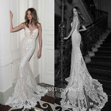 Sexy Mermaid Wedding Dresses Sheer Lace Appliques Backless Bridal Gowns Custom